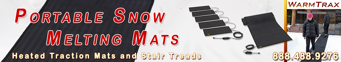 Portable heated traction mats banner