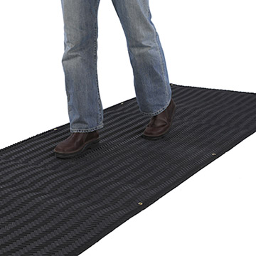 Portable heated traction mat.